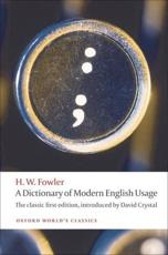 ISBN: 9780199585892 - A Dictionary of Modern English Usage