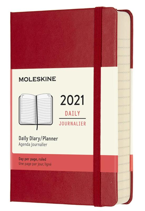 Moleskine 2021 12-month Daily Diary Pocket Notebook hard cover Planner - Scarlet Red