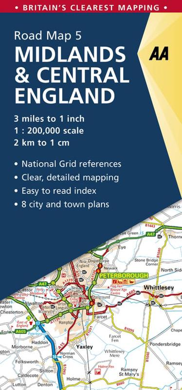Midlands Central England Road Map Aa Publishing Author