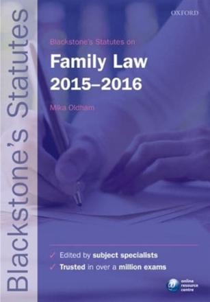 ISBN: 9780198736035 - Blackstone's Statutes on Family Law 2015-2016
