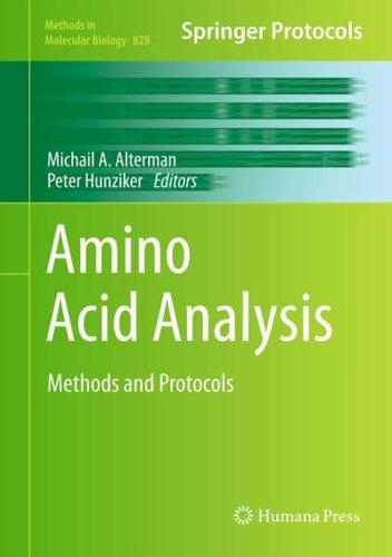 Amino Acid Analysis by Humana Press Inc. (Hardback, 2011)