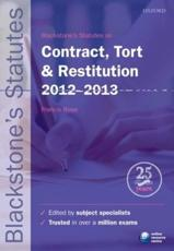 ISBN: 9780199656271 - Blackstone's Statutes on Contract, Tort & Restitution