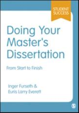 Doing Your Master's Dissertation