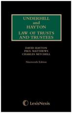 Law Relating to Trusts and Trustees. First Supplement to Nineteenth Edition